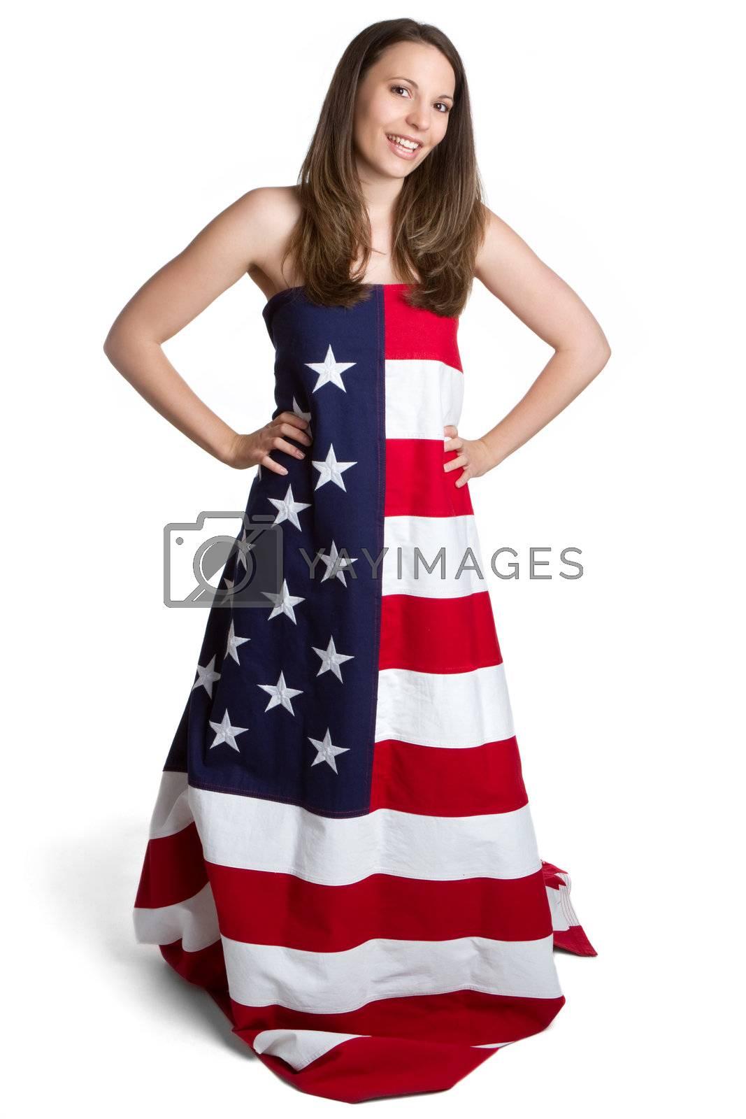 Woman wearing american flag dress
