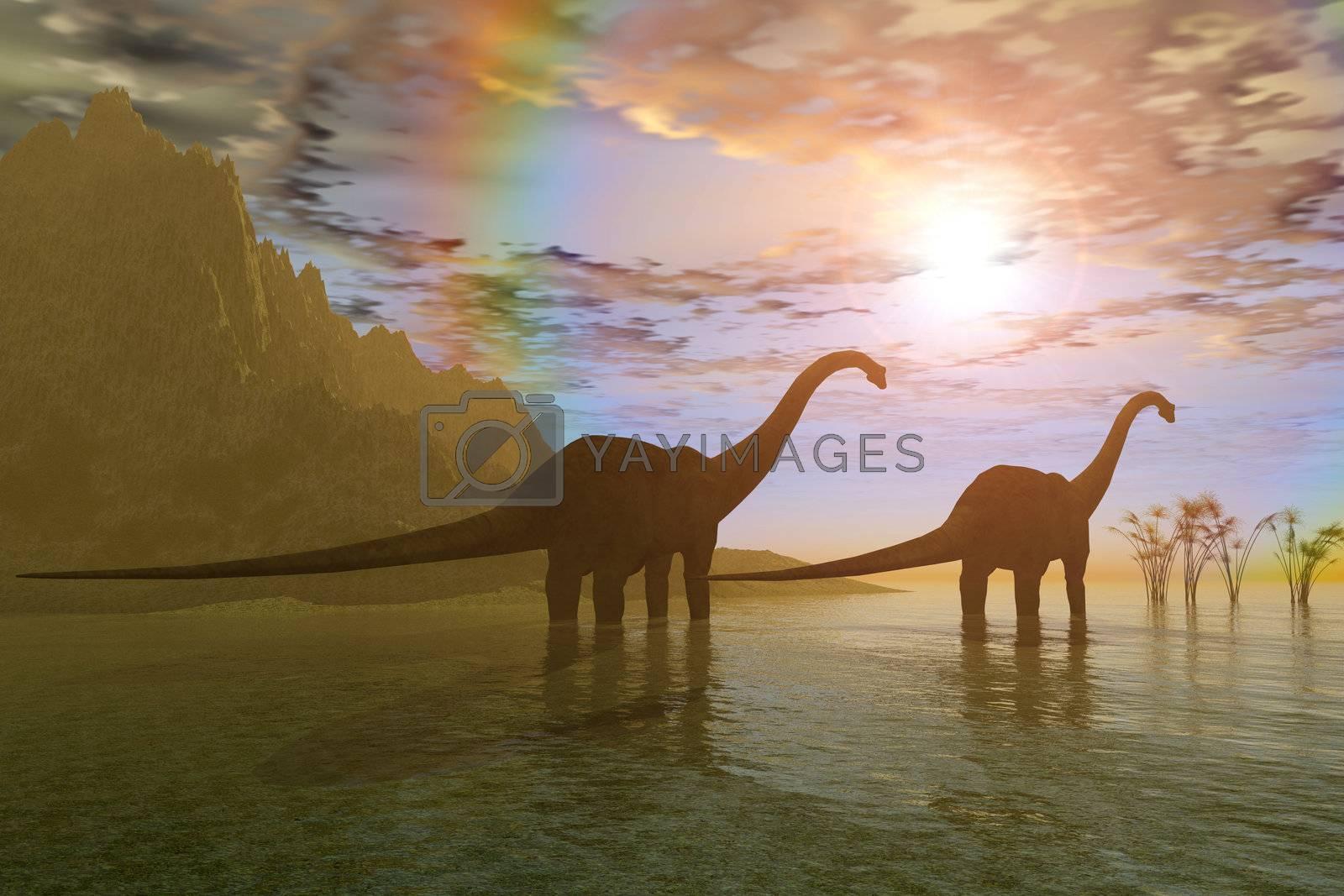 Two Diplodocus dinosaurs wade through shallow water to eat some vegetation.