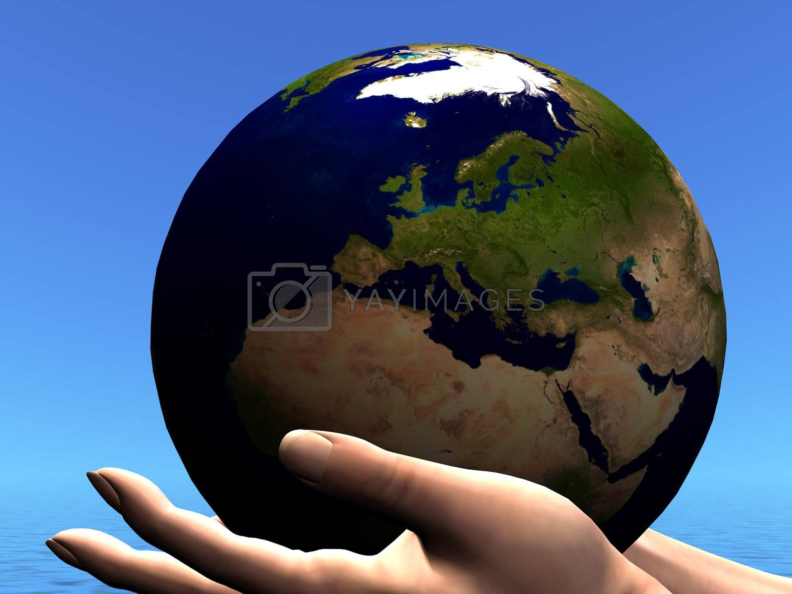 The planet Earth is held in caring hands.