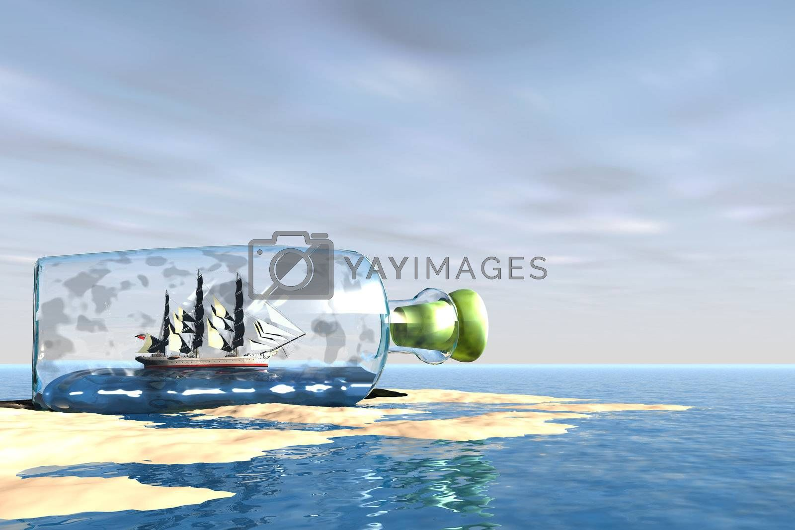 A bottle with an exquisite ship comes to the shore of this ocean beach.