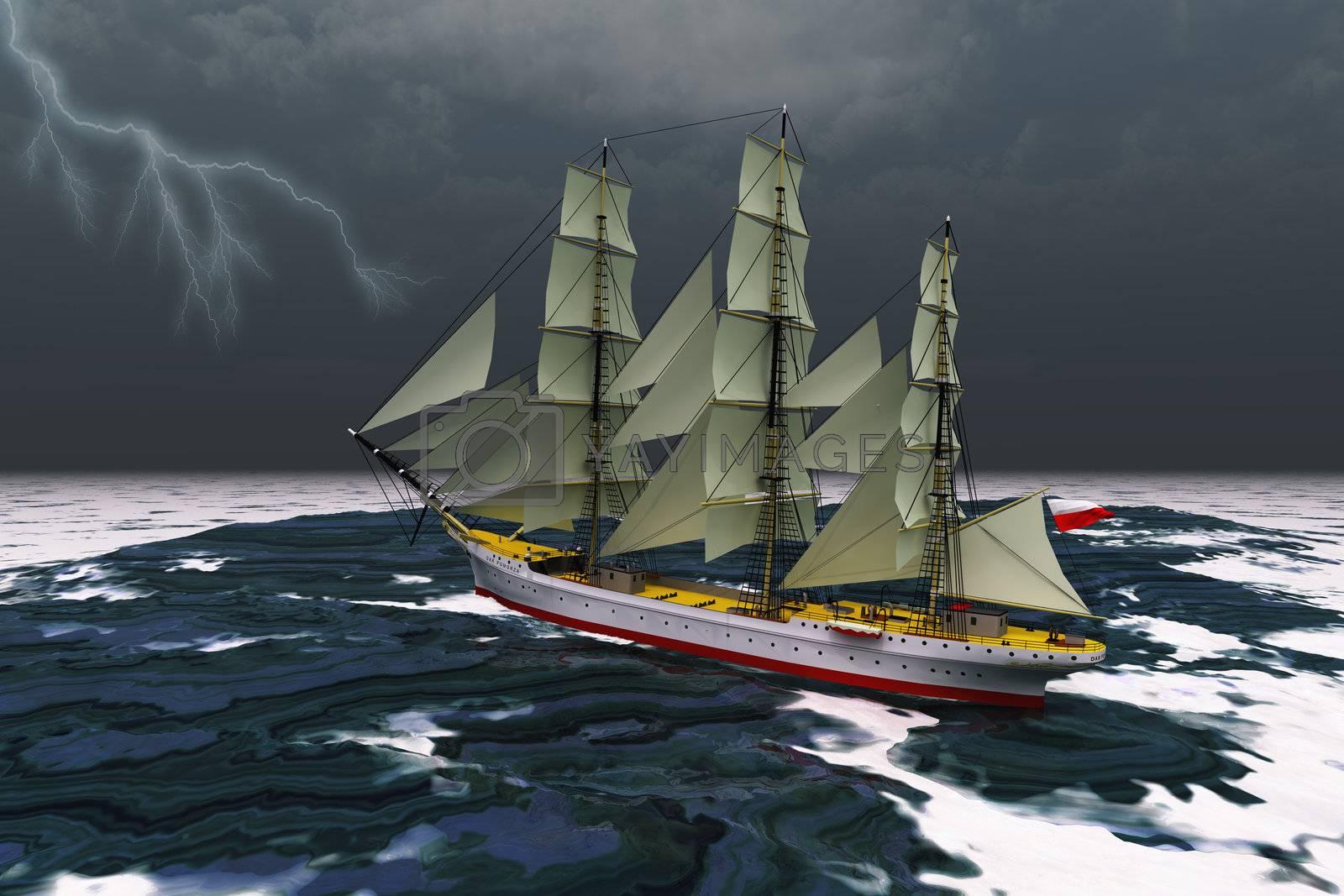 A tall ship glides through rough seas during a thunderstorm.
