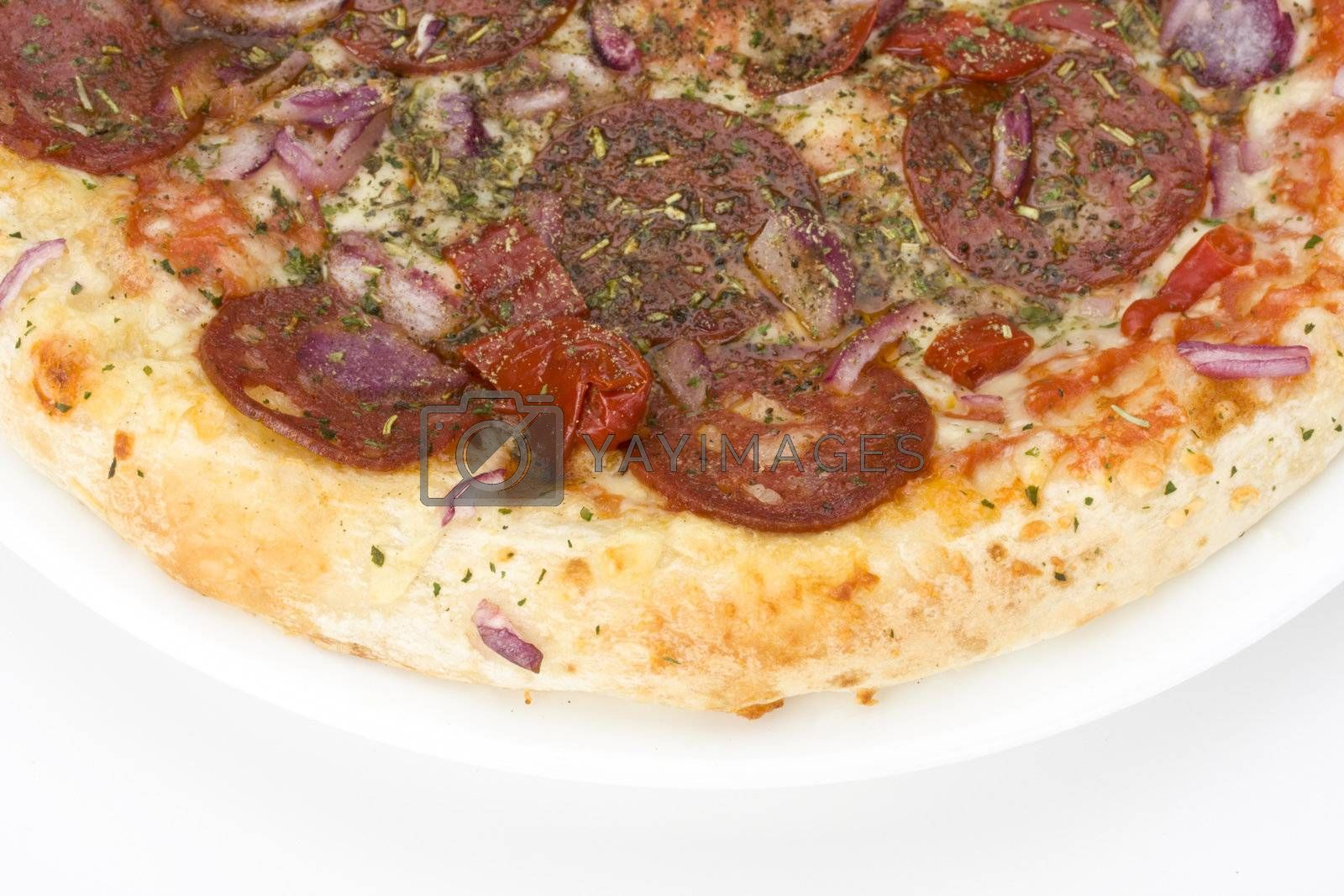 a pizza on a white plate over light grey background