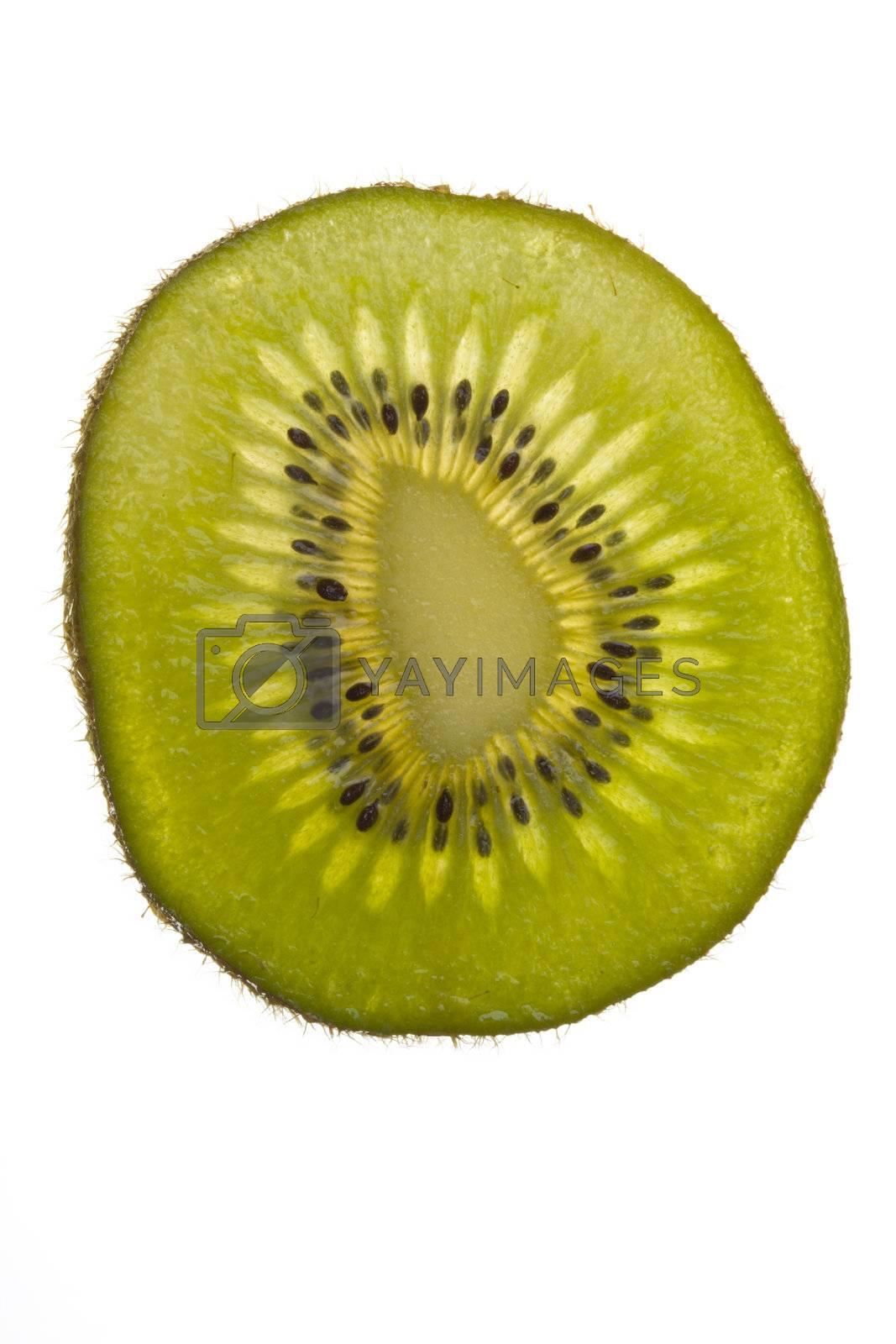 closeup of a translucent slice of kiwi