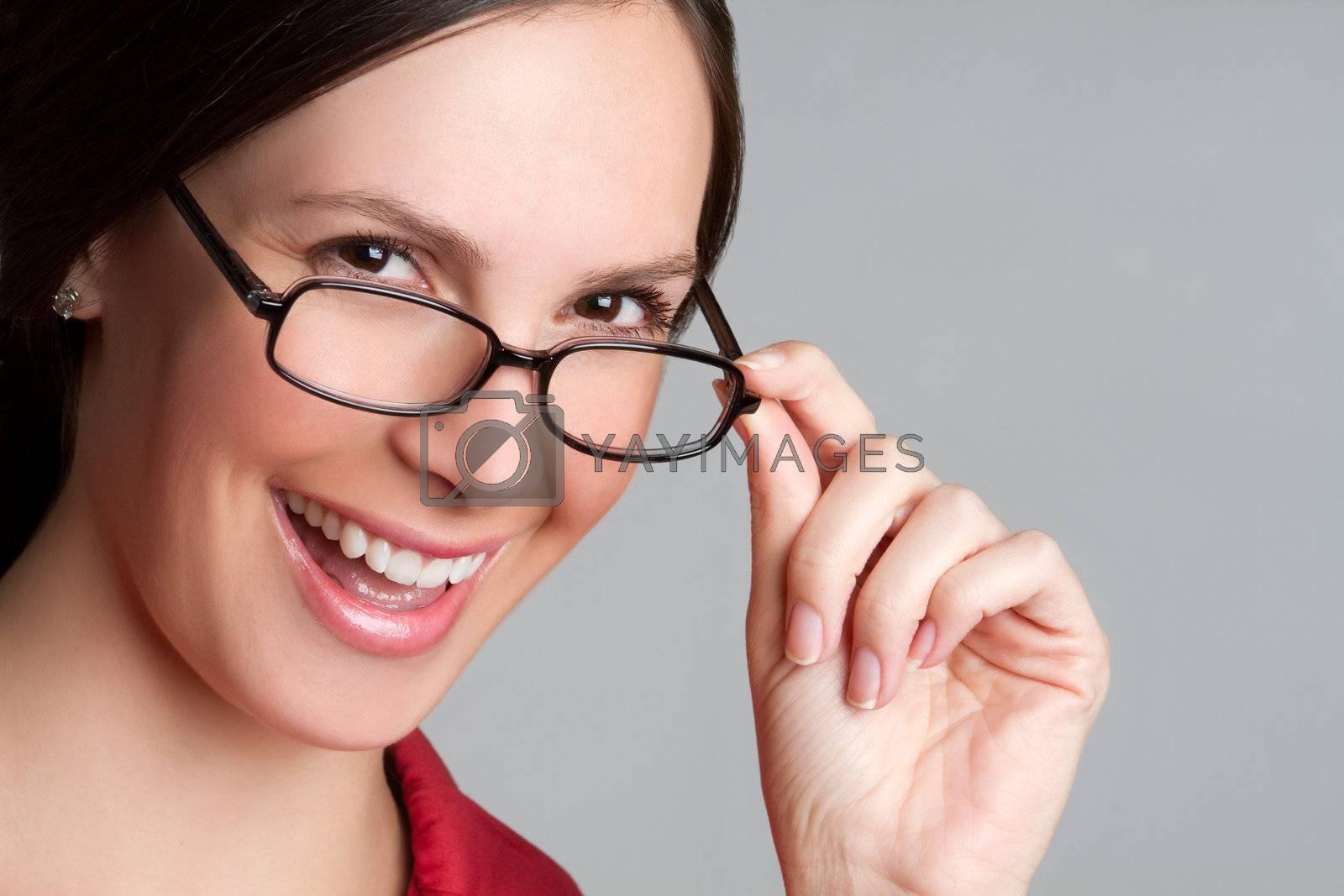 Beautiful happy woman wearing glasses