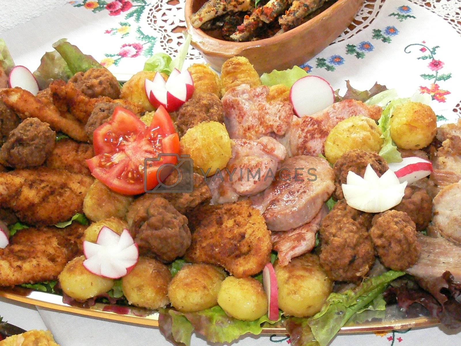 tasty grilled food