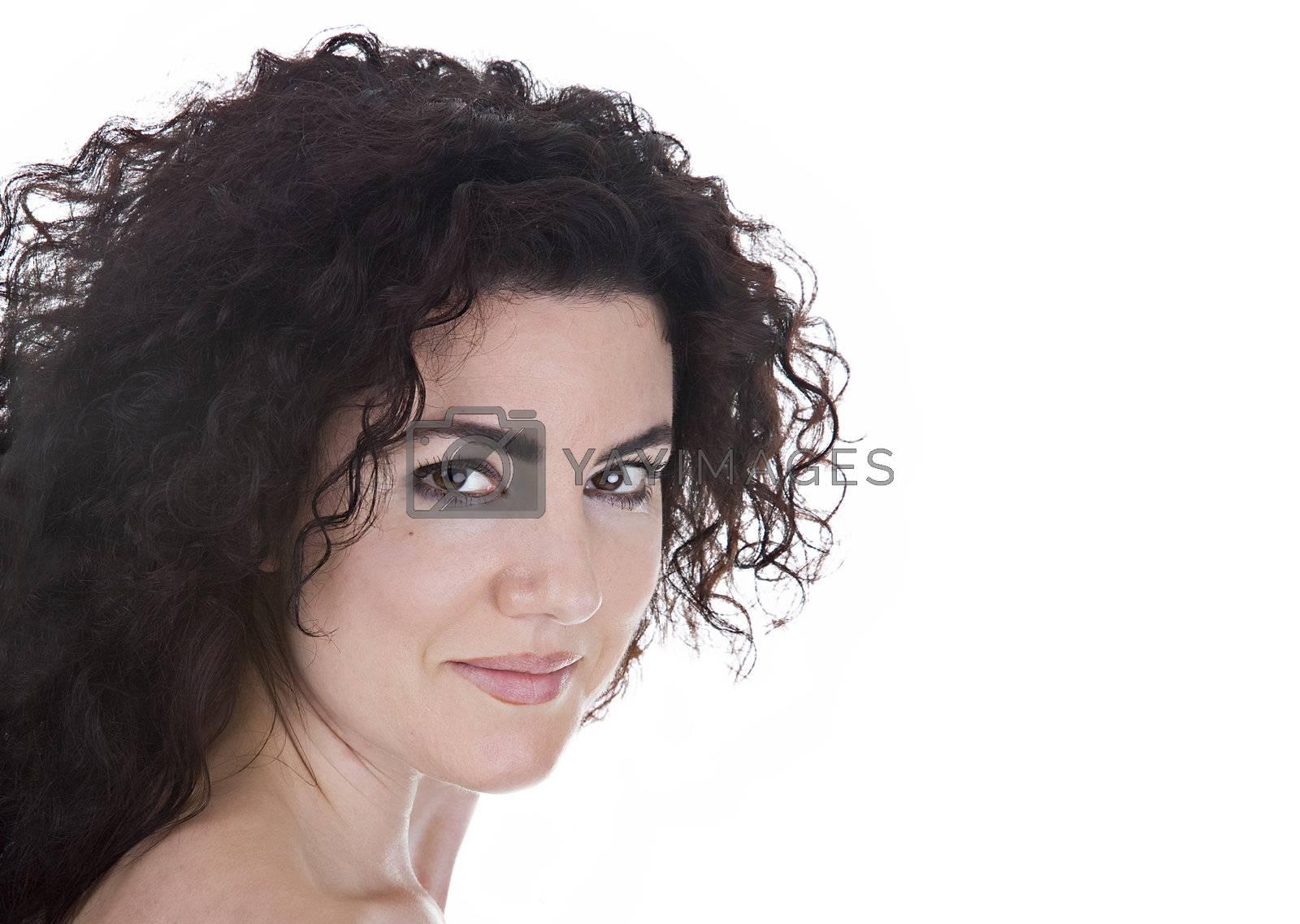 Beautiful brunette studio portrait. Isolated on white background.
