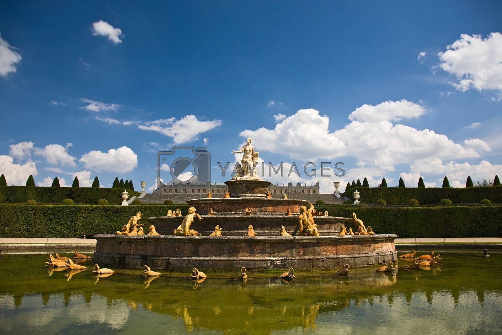 View over one of the main fountains in the Versailles Palace, in Paris, France.