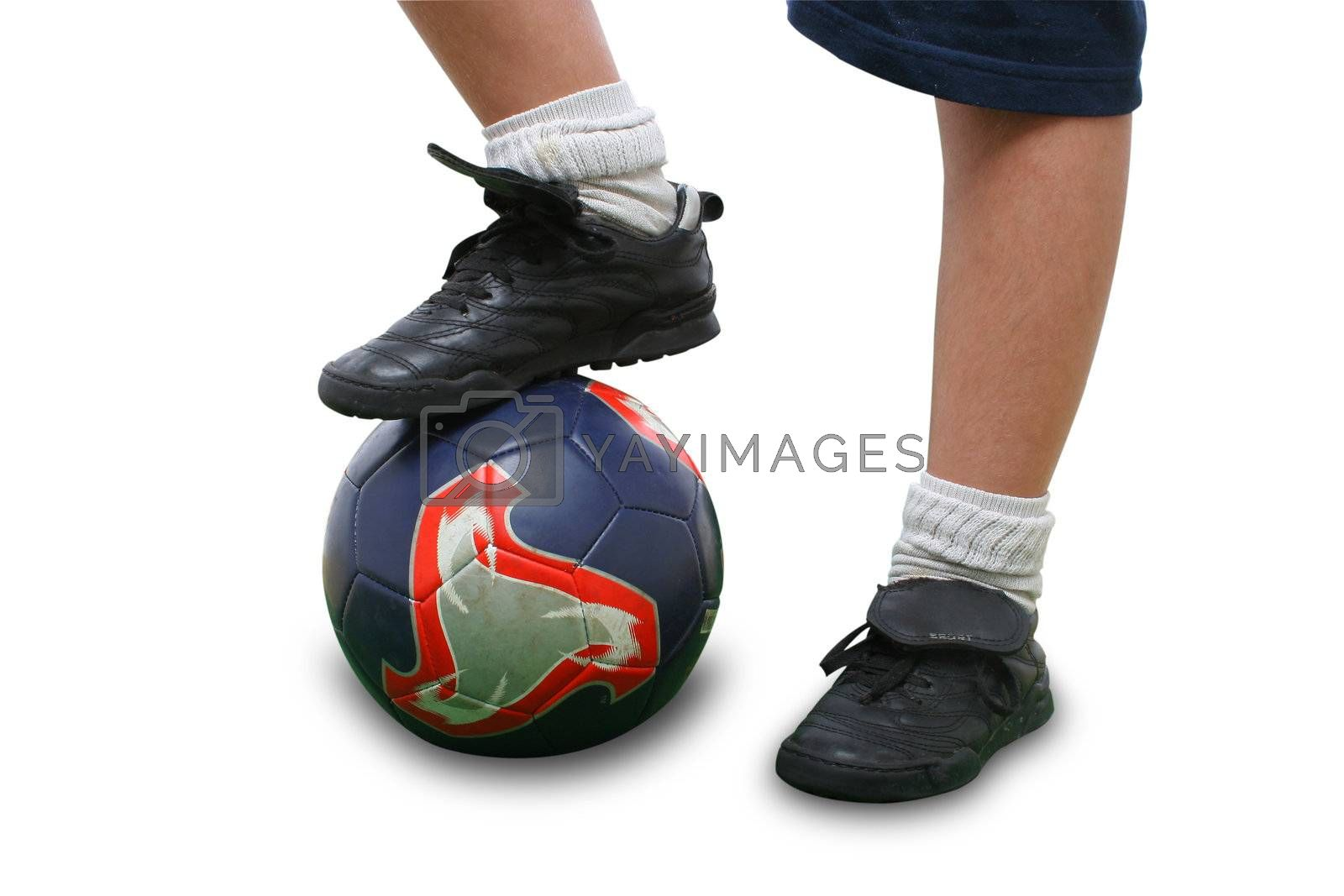 Sports. Close up of a soccer player isolated on white (clipping path included). From my football series