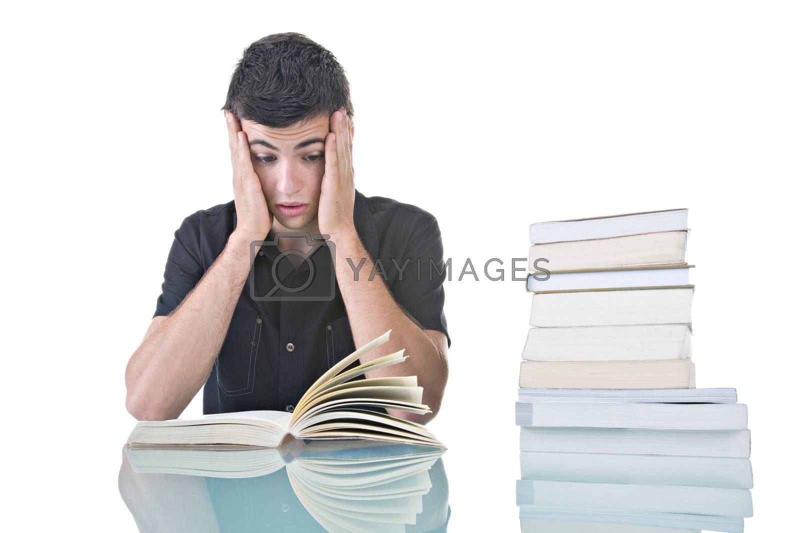 Portrait of a stressed young student with a pile of books to read.