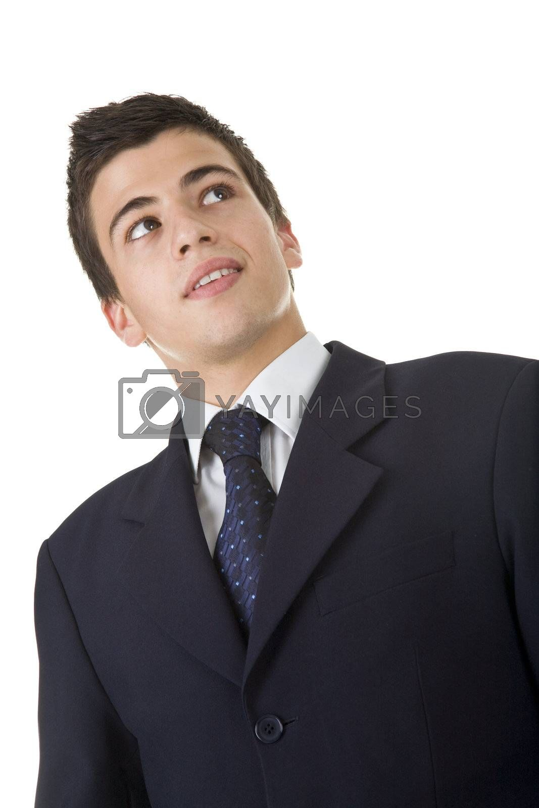 Portrait of a handsome young man, wearing a suit. Isolated on white. Studio shot.