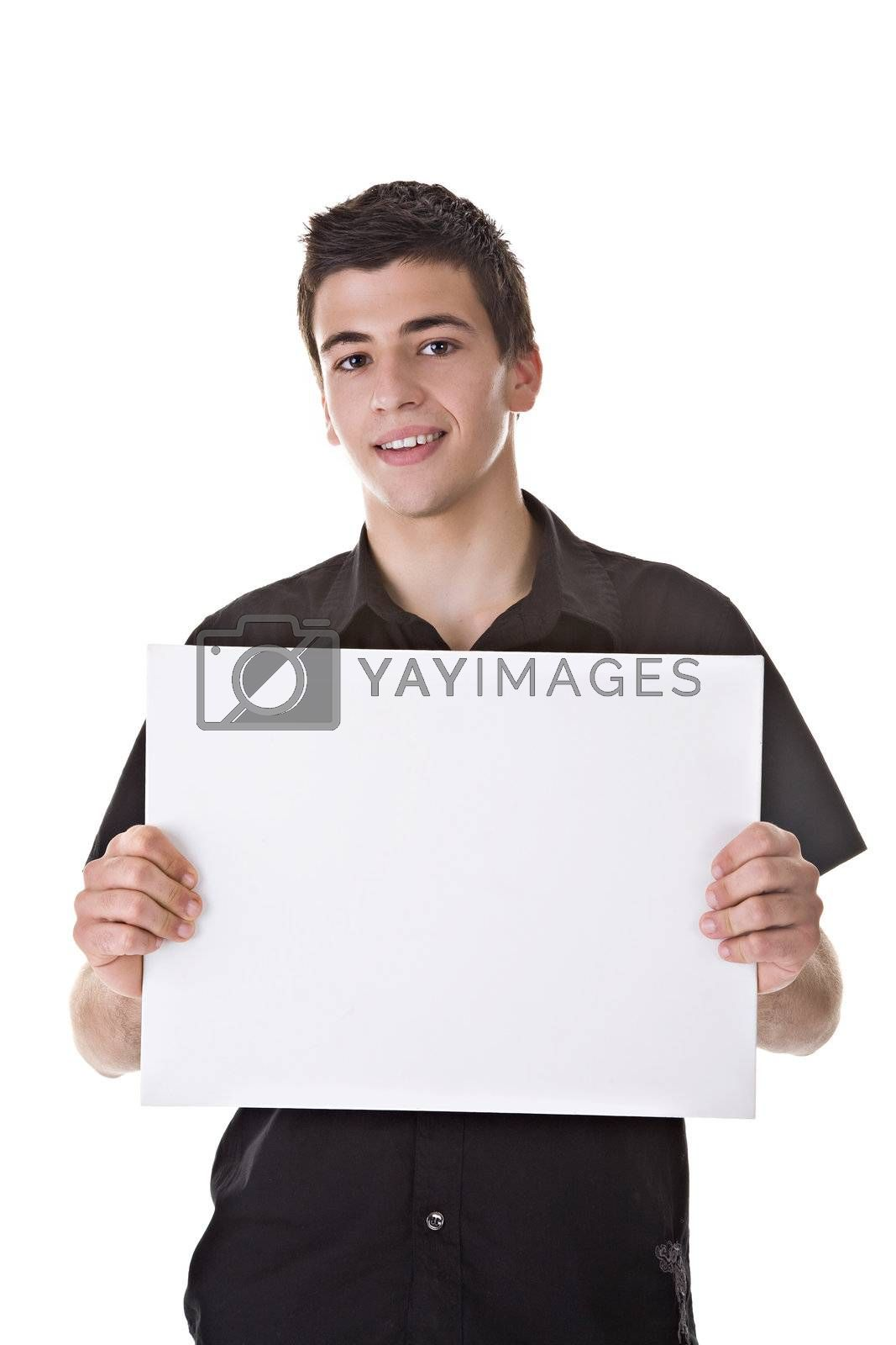 Photo of a Young Man Holding a Blank Board