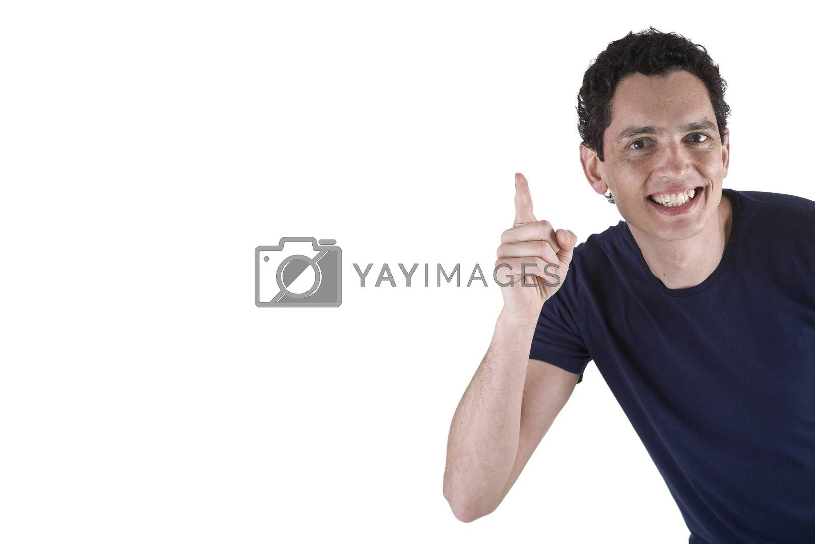 Young man with big smile, isolated on white. Copy space.