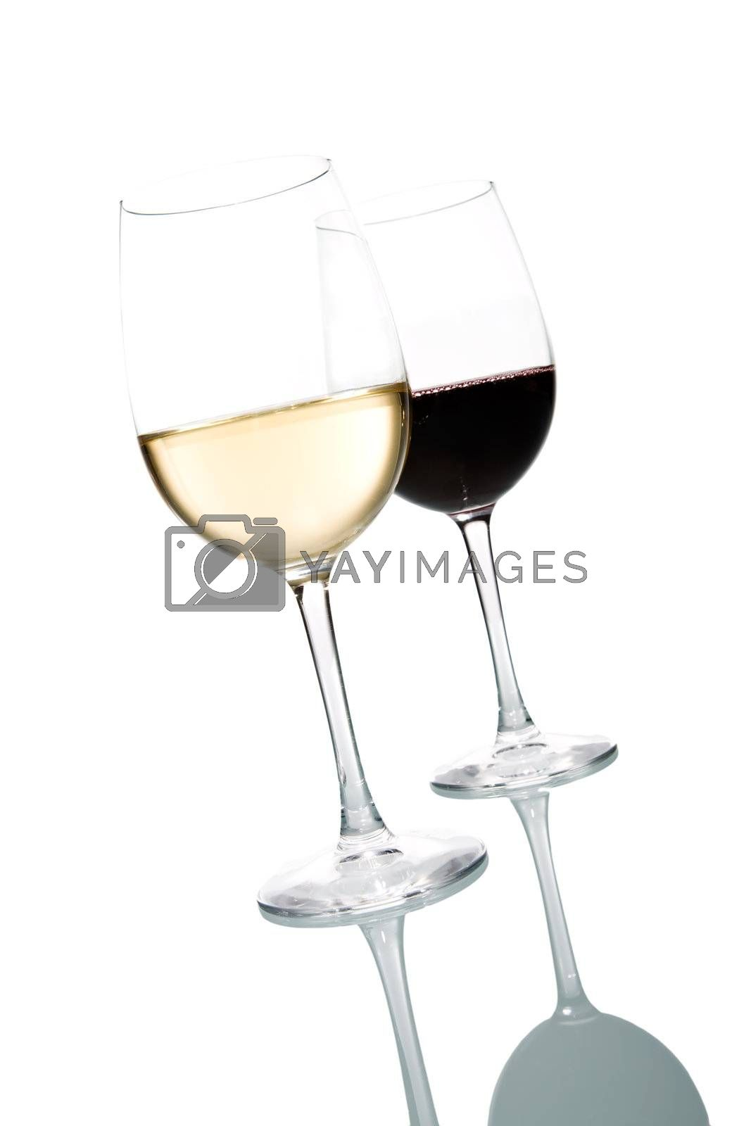 Two glasses of wine. White and Red. Isolated on white background.