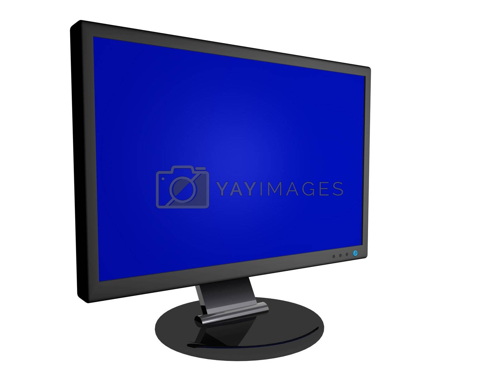 3D Render of a computer monitor with blank screen.