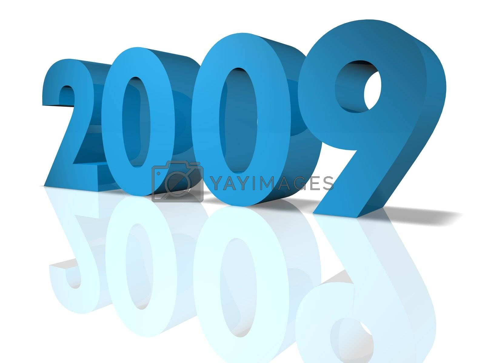 New Year 2009. 3D Render.