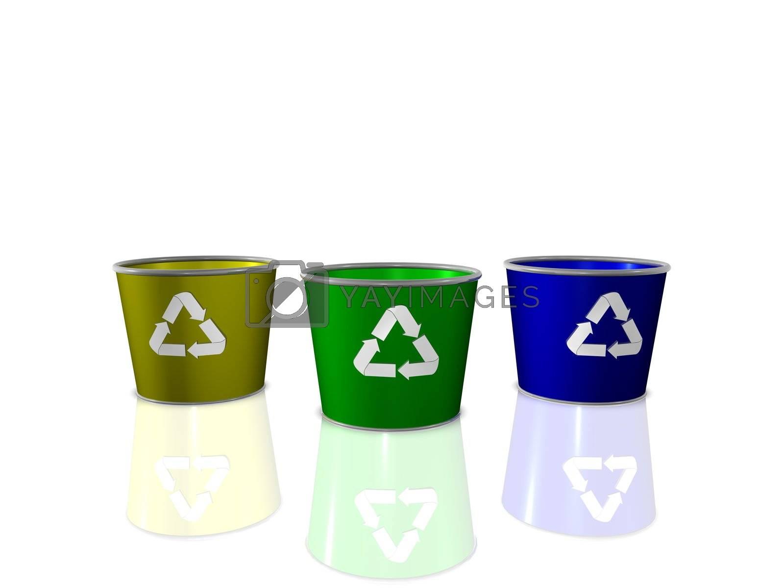 Recycle bins 3D Render.