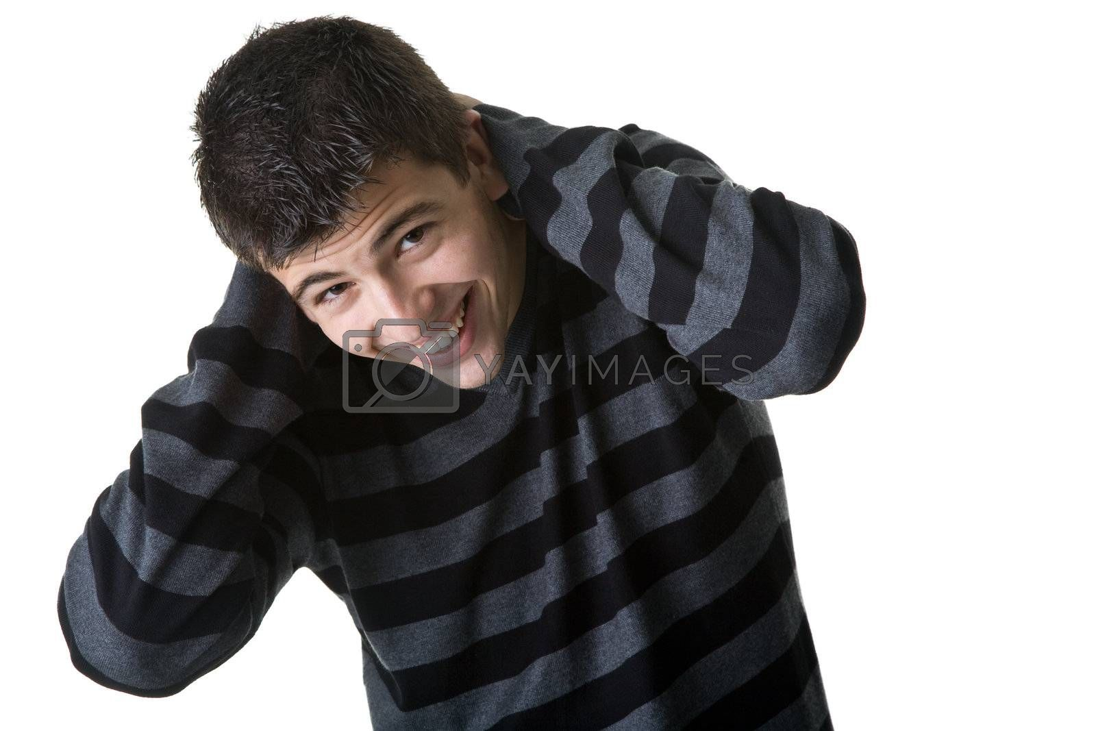Portrait of a handsome young man laughing. Isolated on white background.