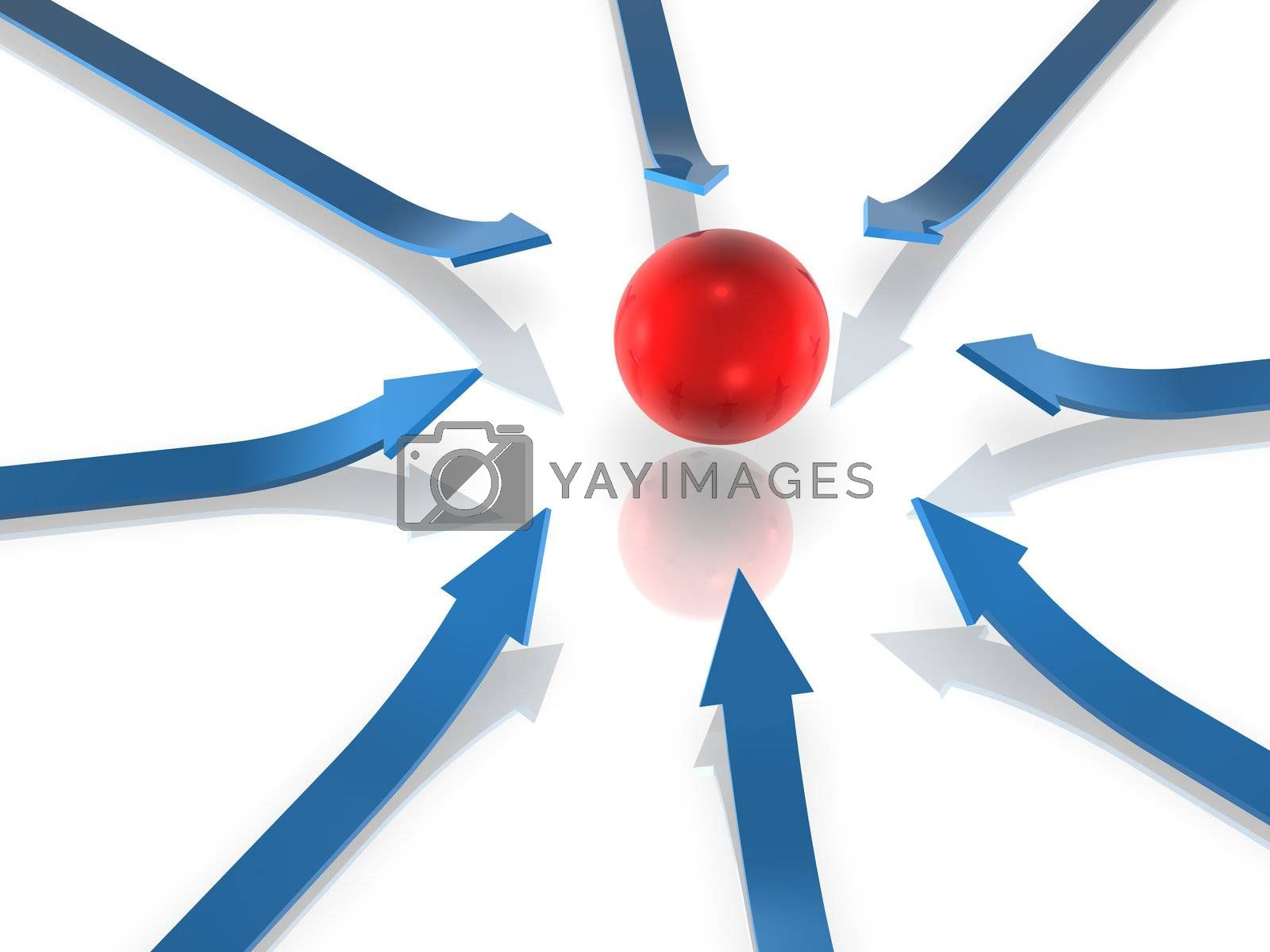 3D Render. Business Concept: Objectives.