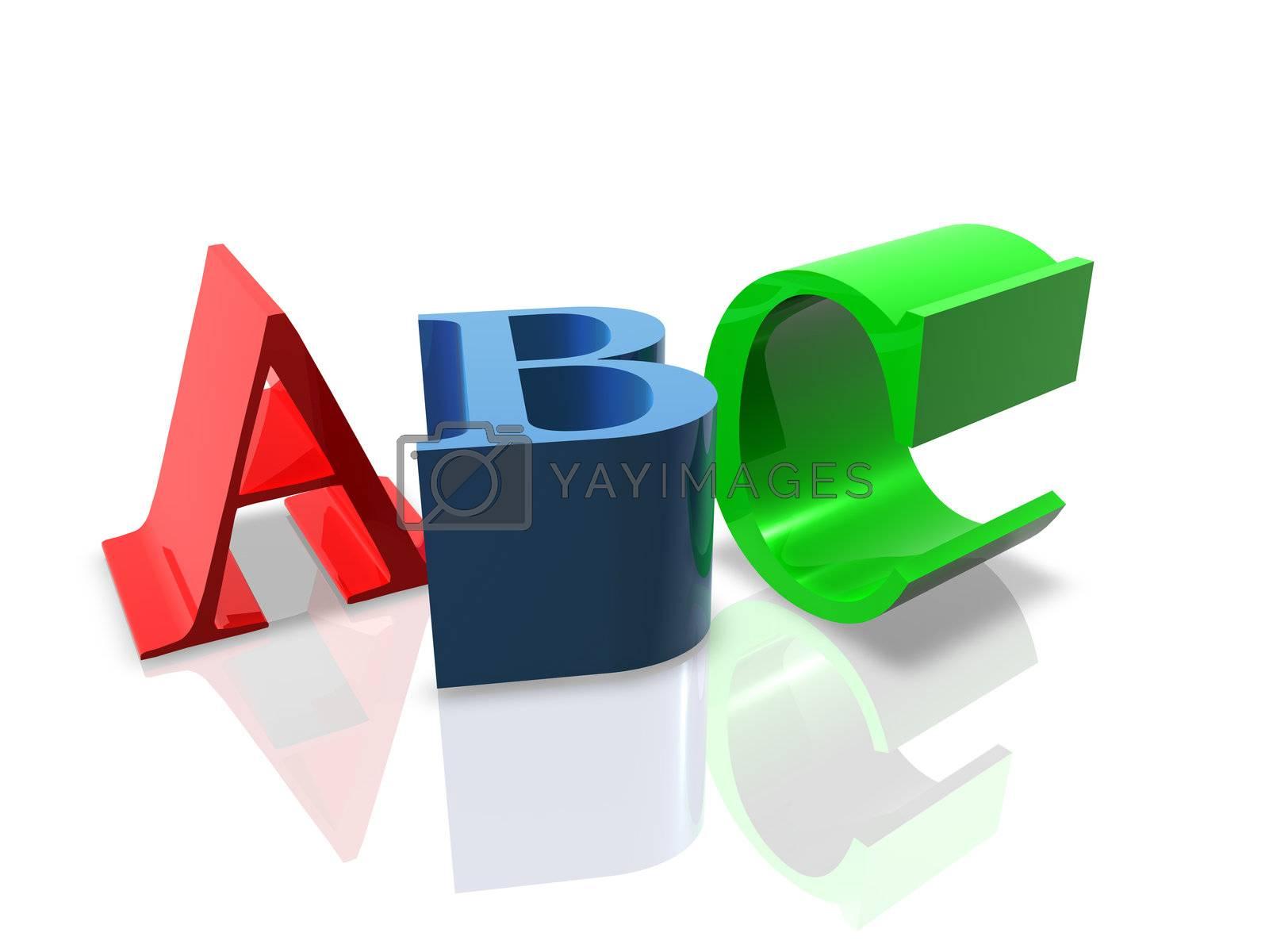3D Render of ABC letters. Concept: Education.