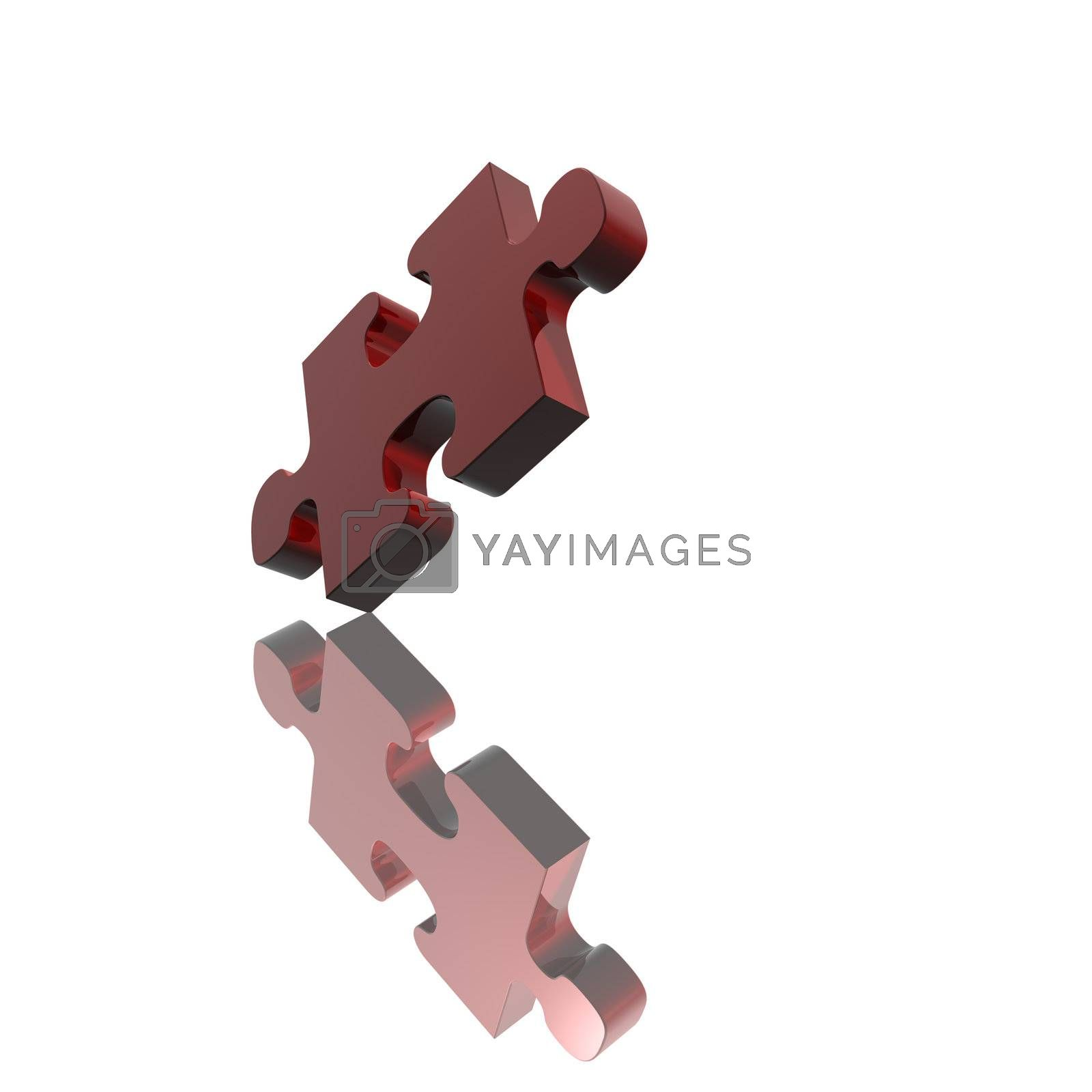 Red jigsaw puzzle piece isolated on white background.