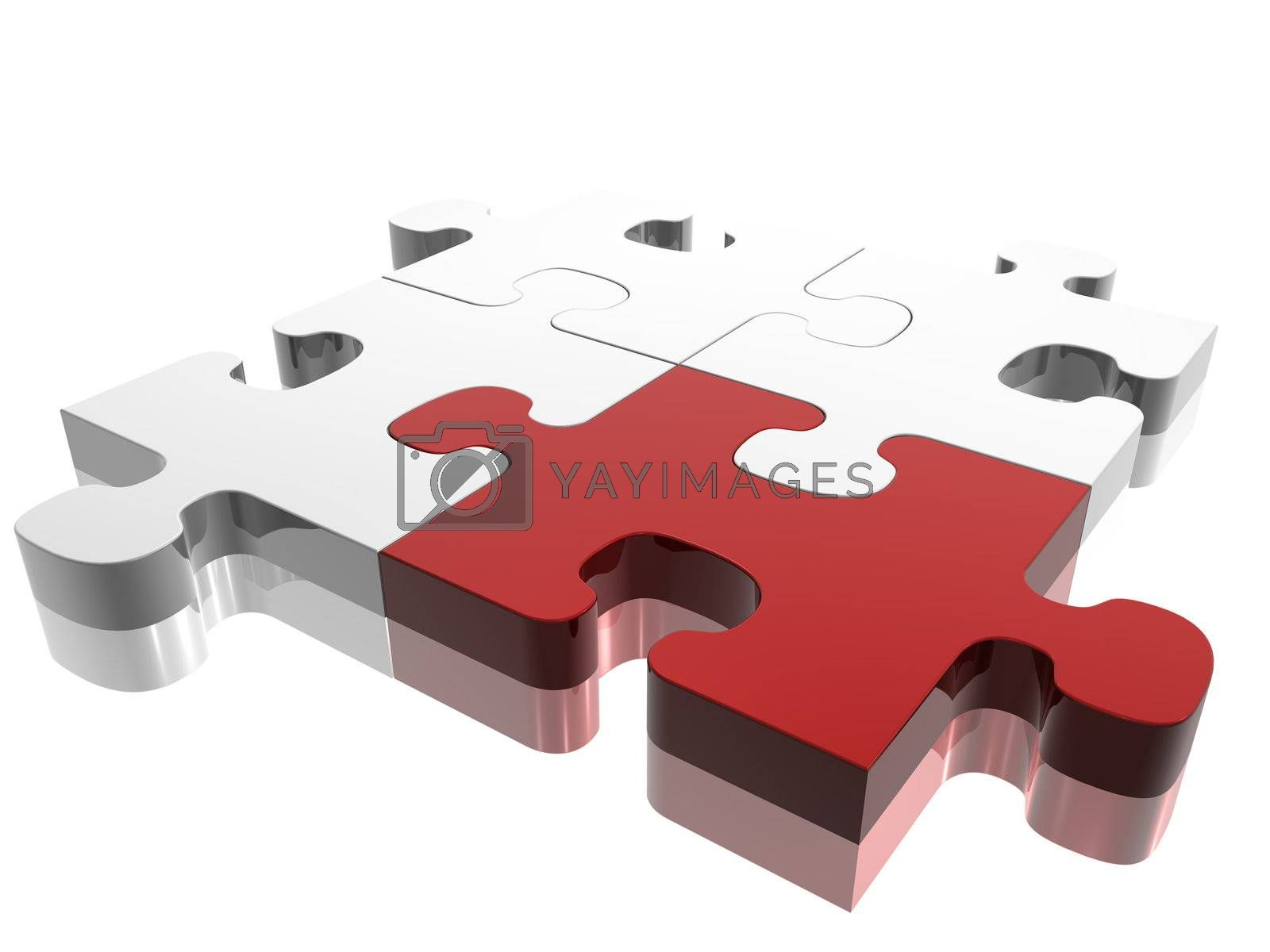 Red jigsaw piece on silver puzzle. Concept: Difference.