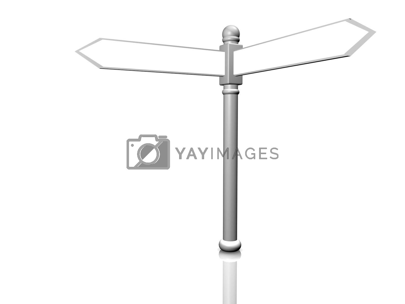 3D render illustration of a blank sign post isolated on white.