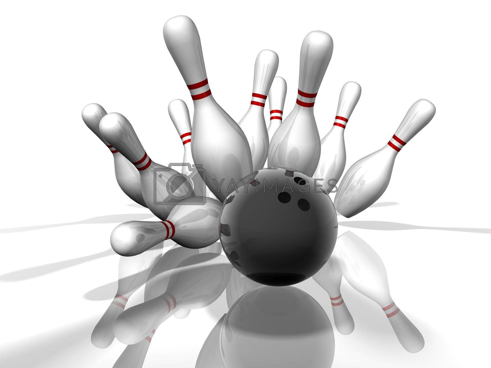 3D render of a bowling strike with shadows and reflection.