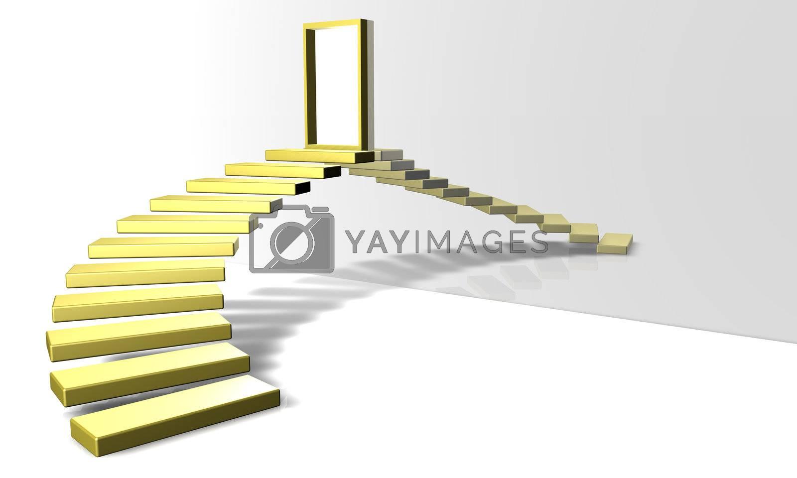 3D Render. Golden Stairway. Conceptual image.