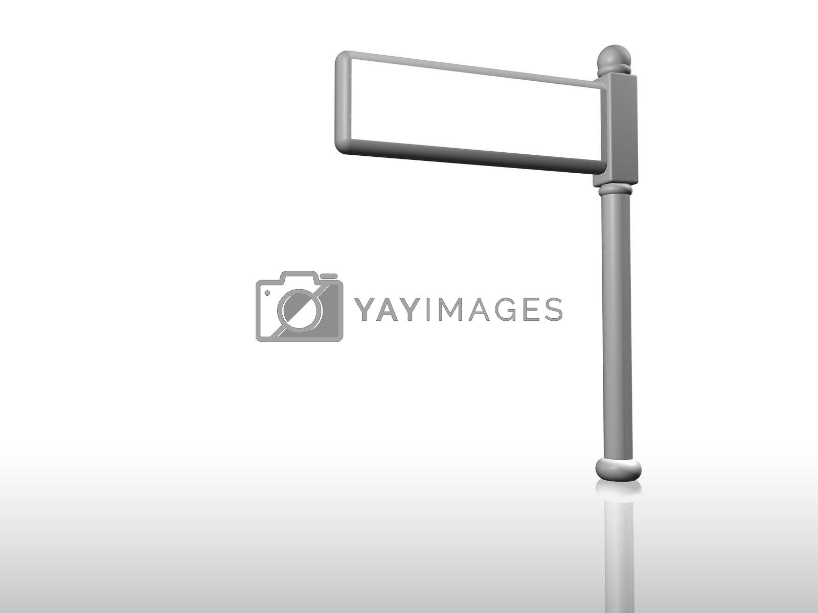 3D Render of a blank sign post isolated on white background.