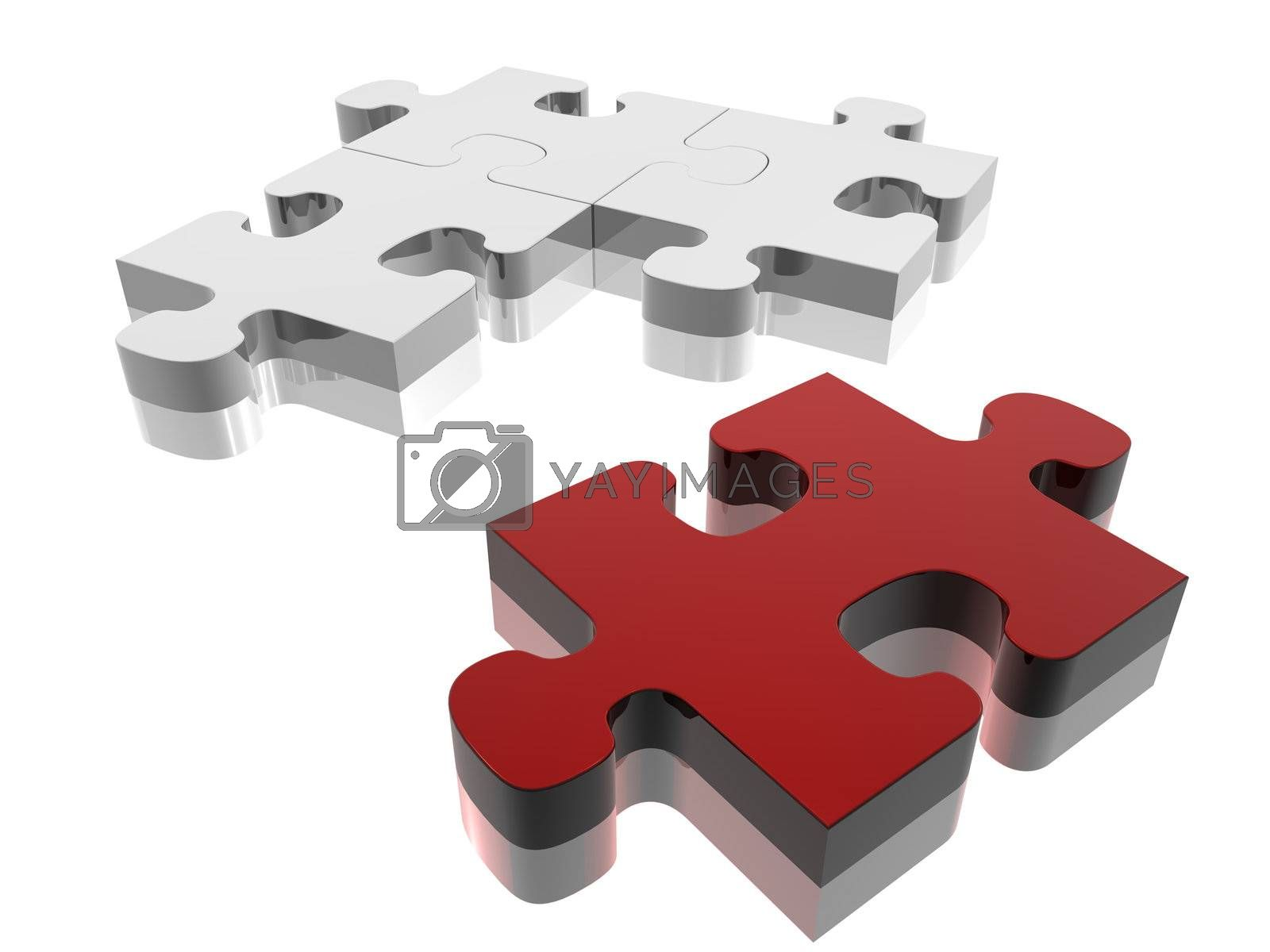 Red jigsaw piece on silver puzzle. Concept: Solutions.