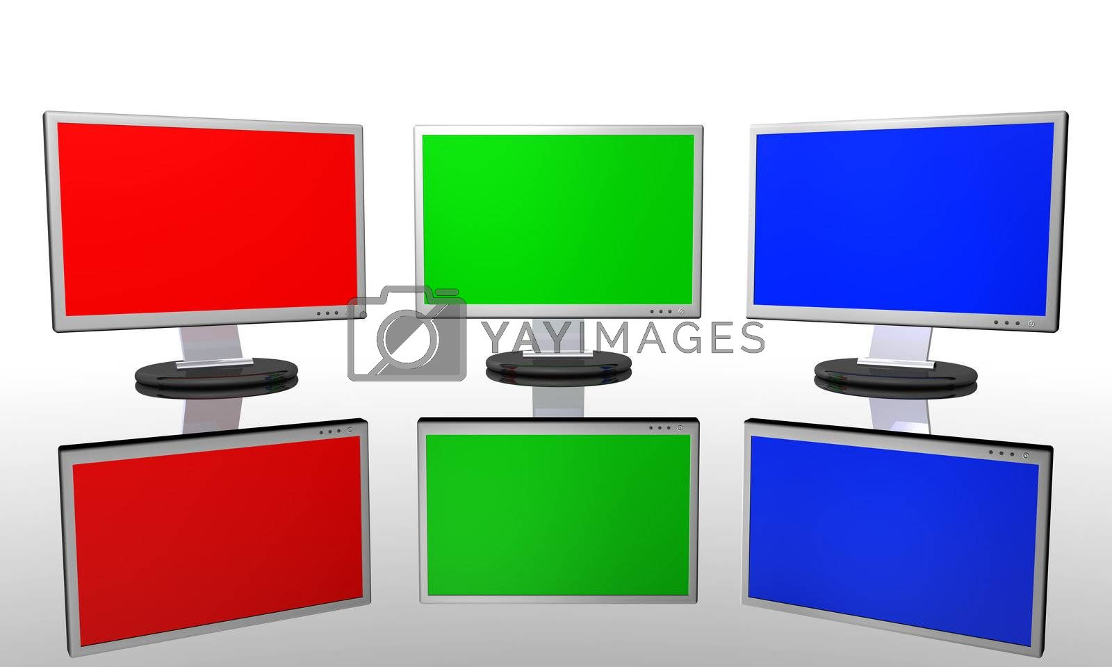 3D render of three monitors showing RGB Colors.
