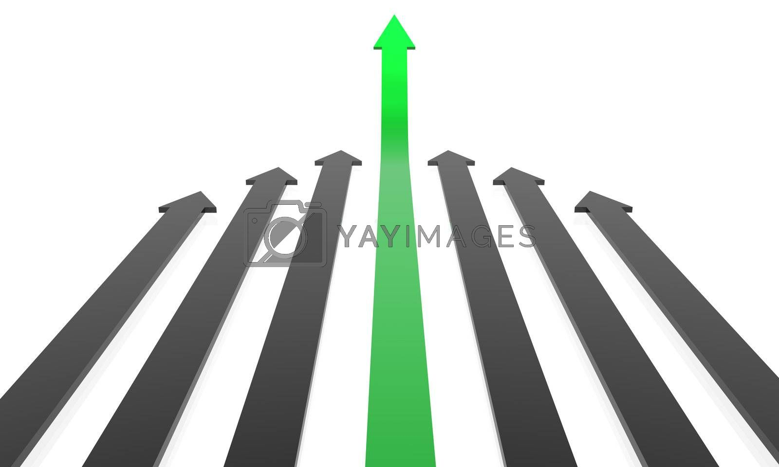 Business concept: Competition, success. 3D rendered Arrows.