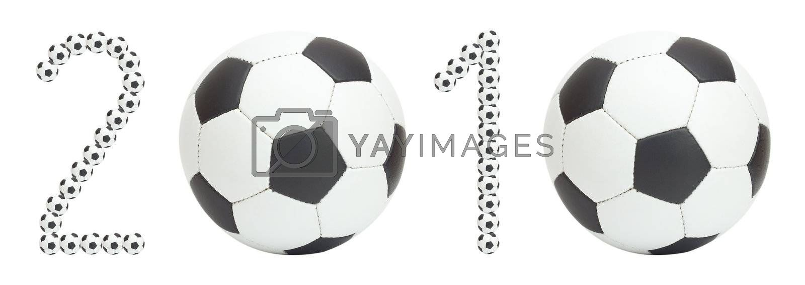 world championship for soccer data, made from balls, isolated on white