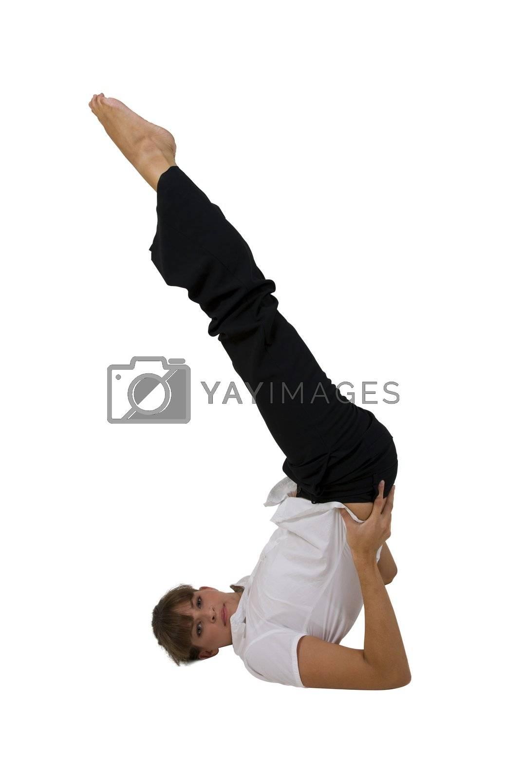 female exercising yoga on white background
