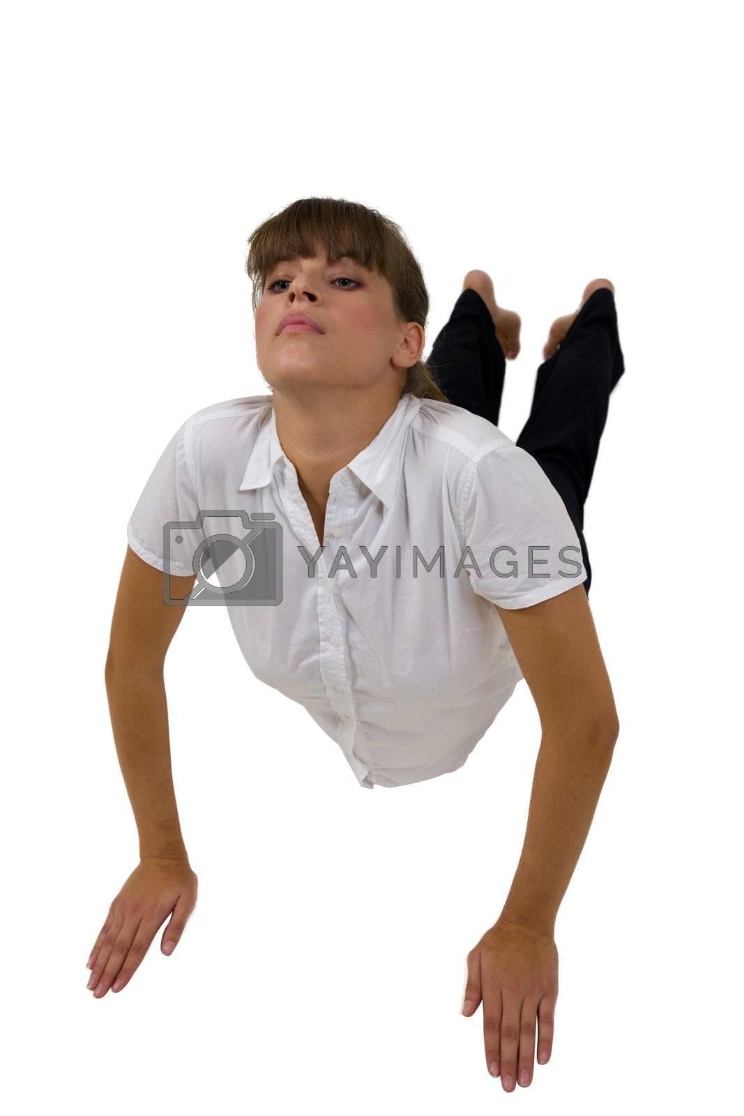 young lady ecercising yoga on isolated background