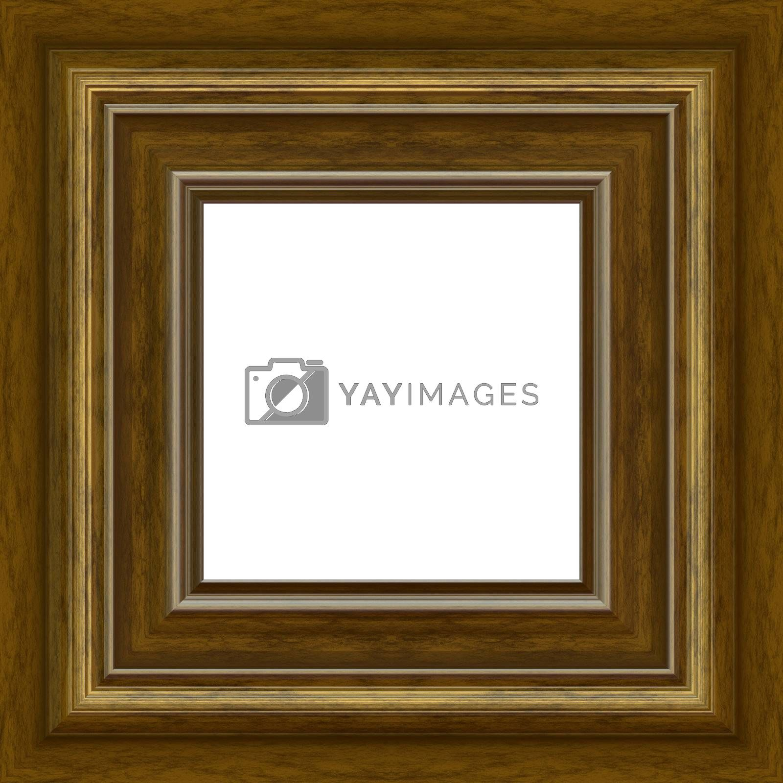 A fancy wooden photo frame border with copy space.  Clipping path is included for the white center area.