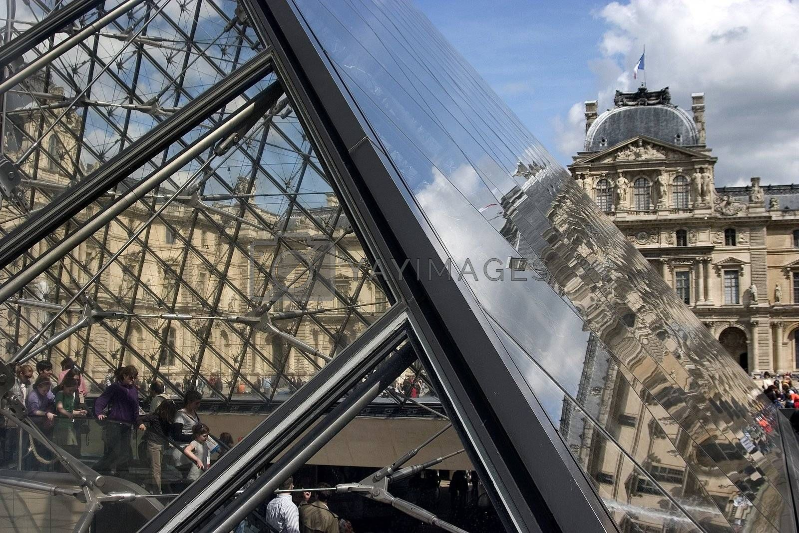 The glass pyramid in Louvre in Paris
