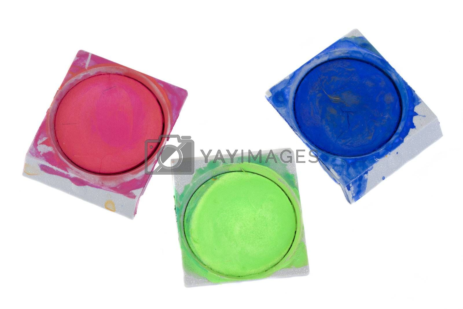 red, green and blue watercolor pots isolated on white