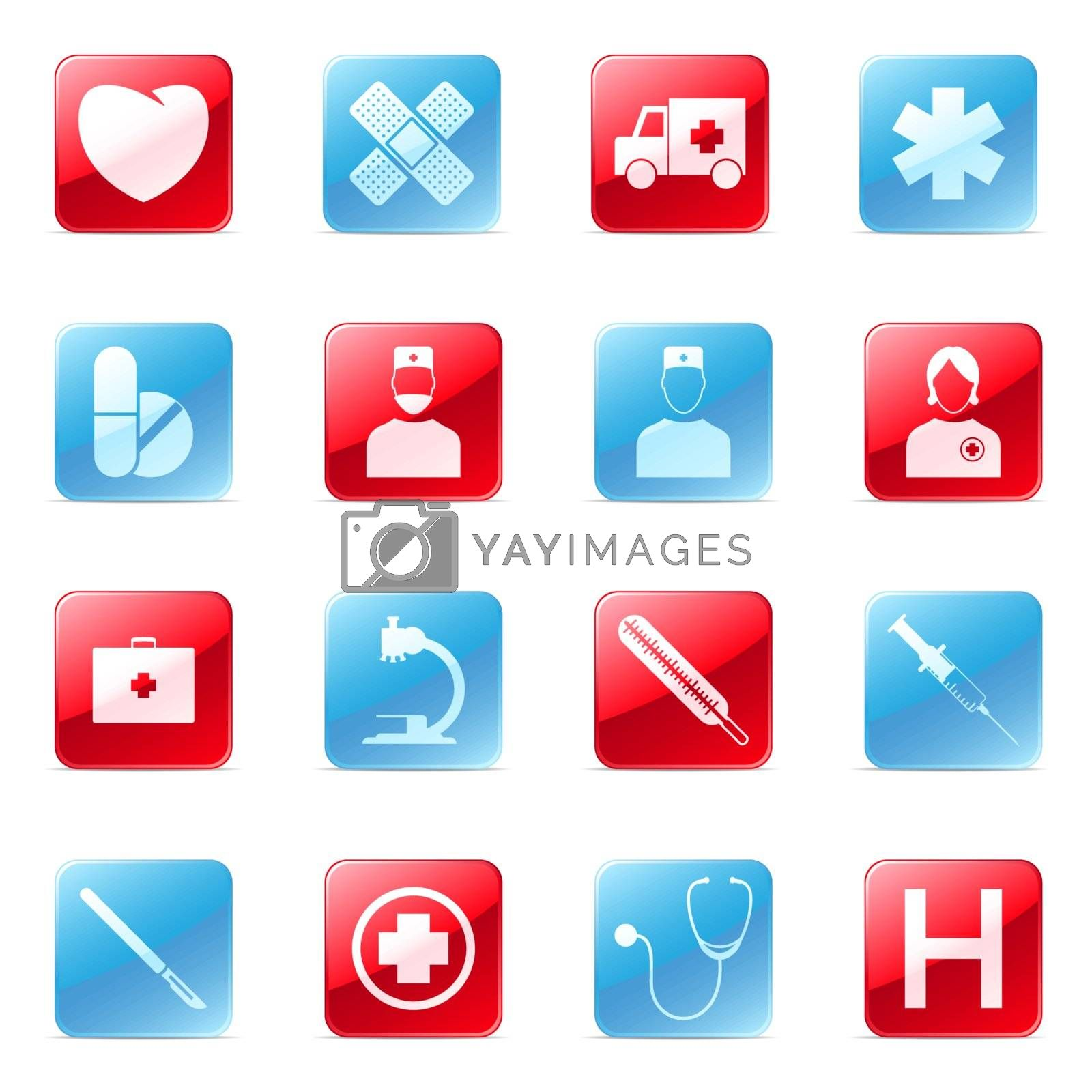 Set of blue and red medical icons