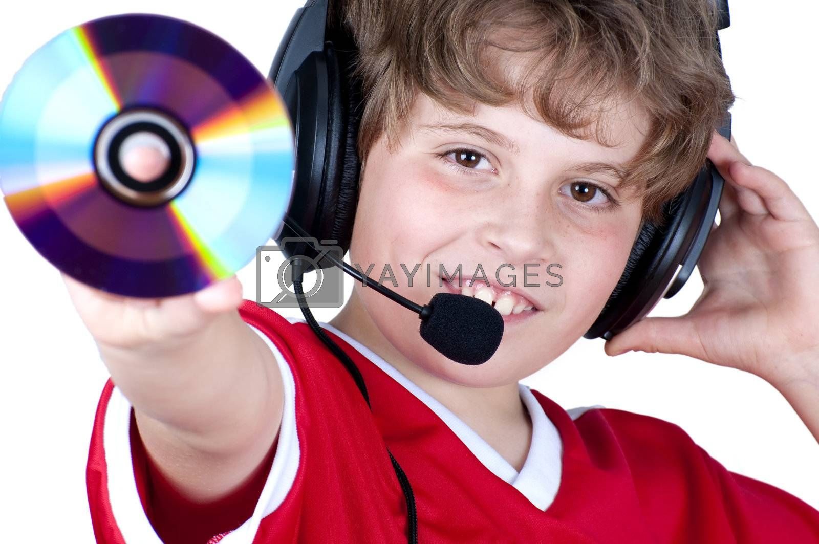 Picture of a boy listen music with headphones