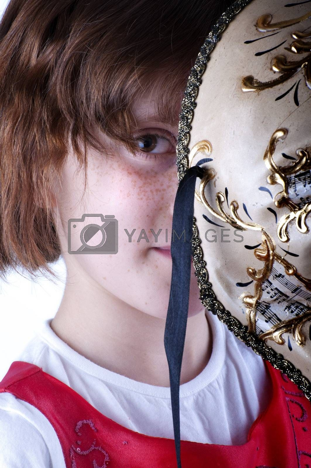 Picture of a girl  wearing venicean mask