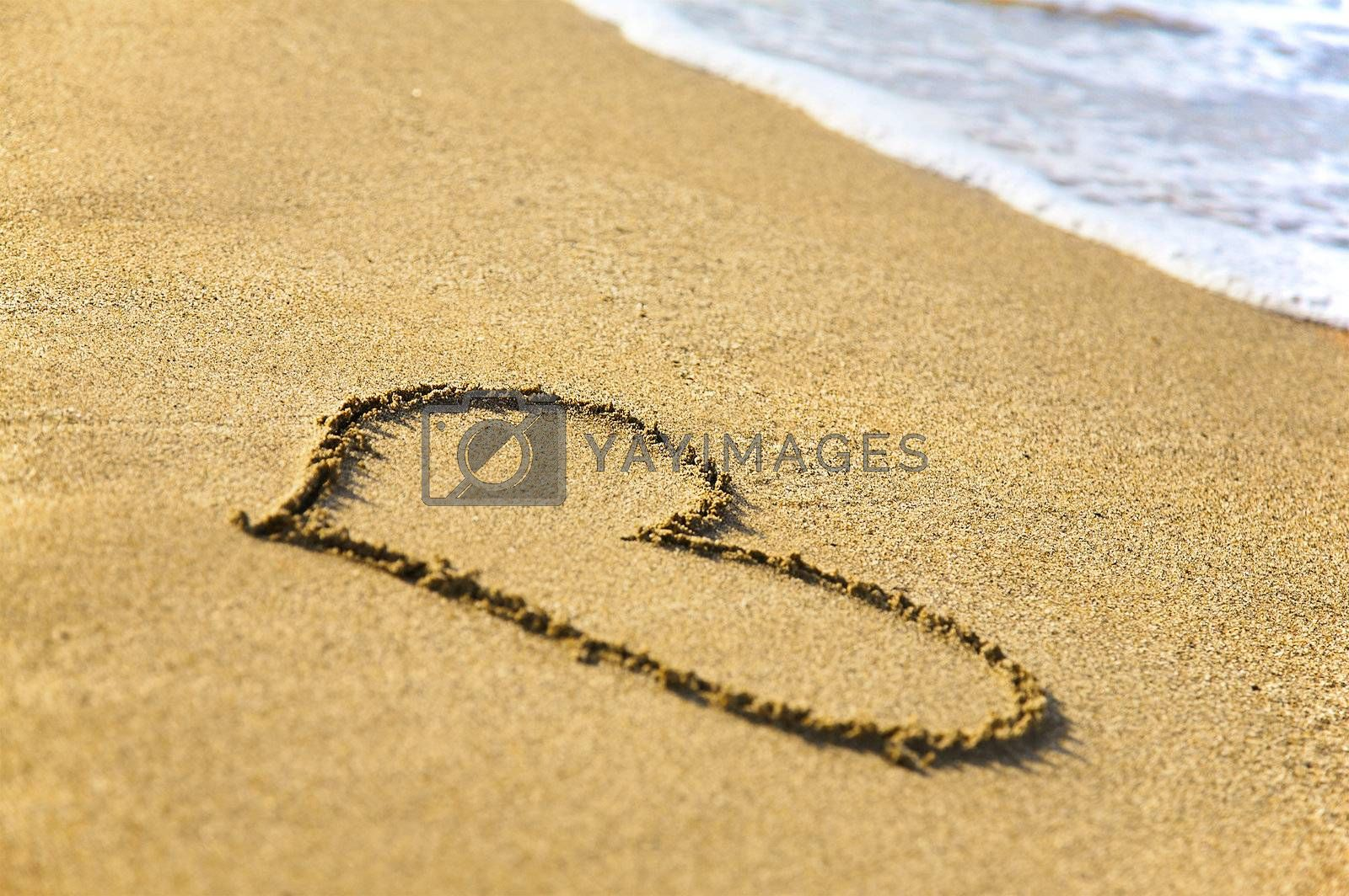 """Royalty free image of """"Heart"""" drawing at sand, with sea wave by DeusNoxious"""