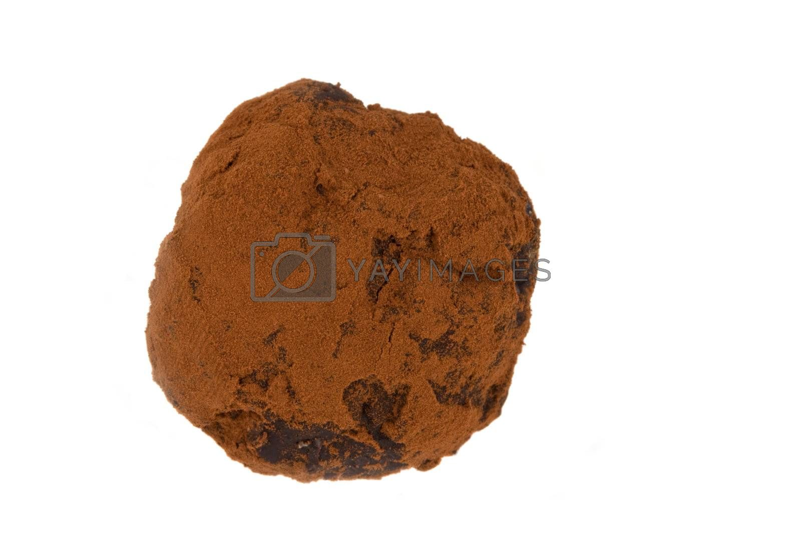 closeup of a home made chocolate praline isolated on white background