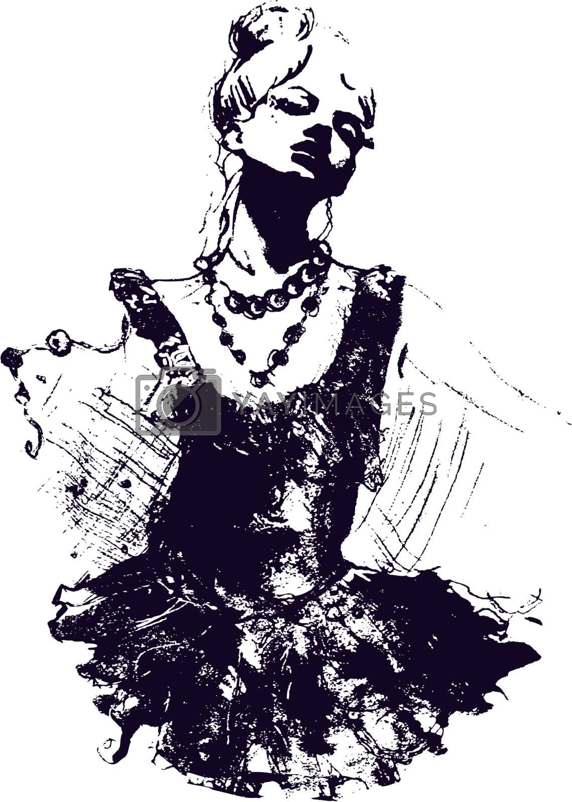 Lady Dancer Drawing Sketch Royalty Free Stock Image Yayimages Royalty Free Stock Photos And Vectors