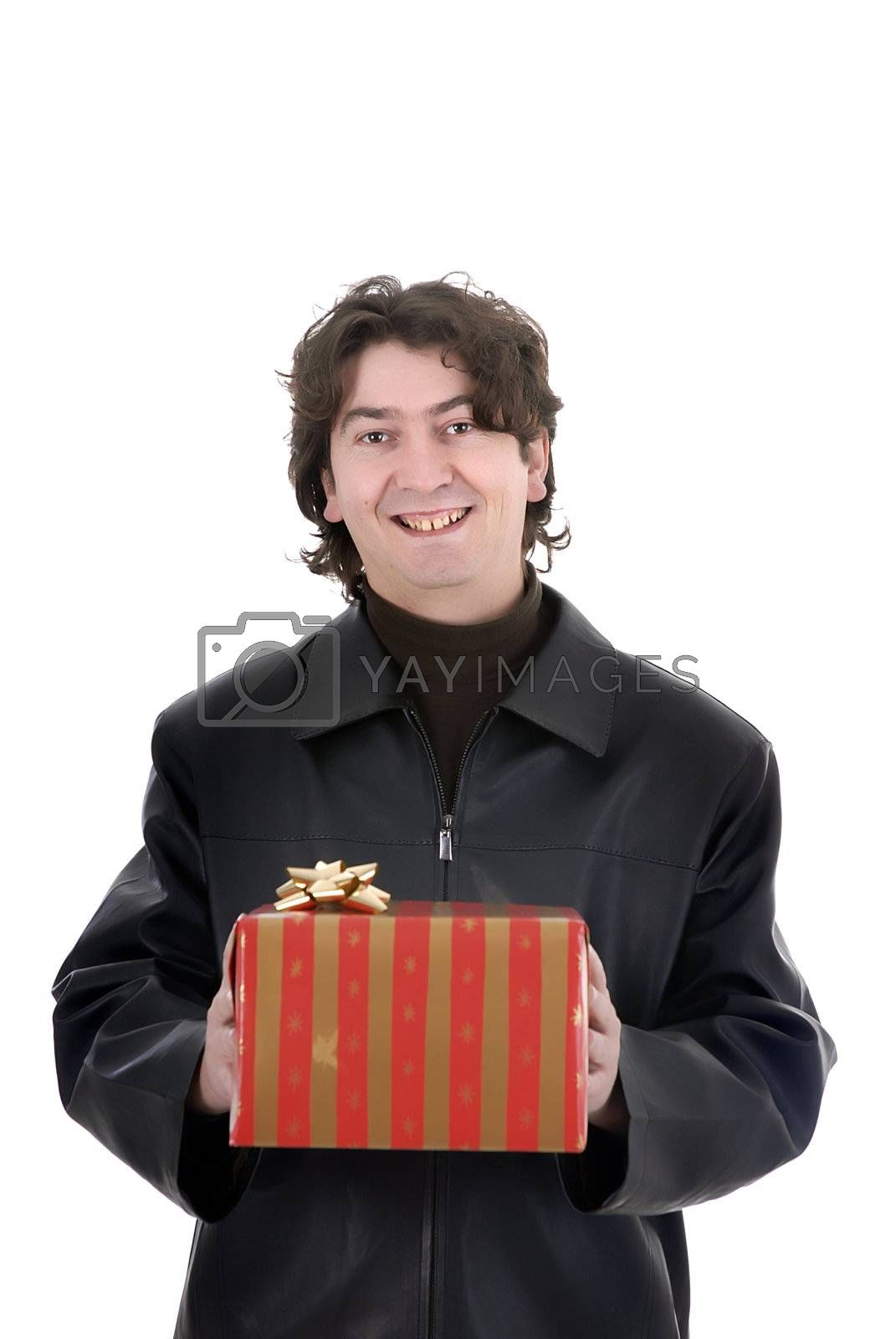 Young man holding a gift box. Isolated on white with copy space.