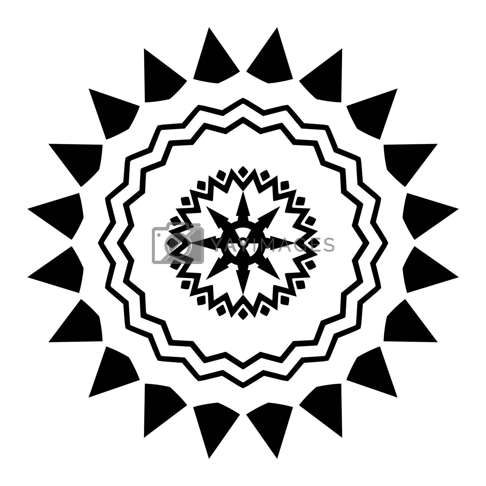 Illustrated black and white design with a radiation symbol in the middle