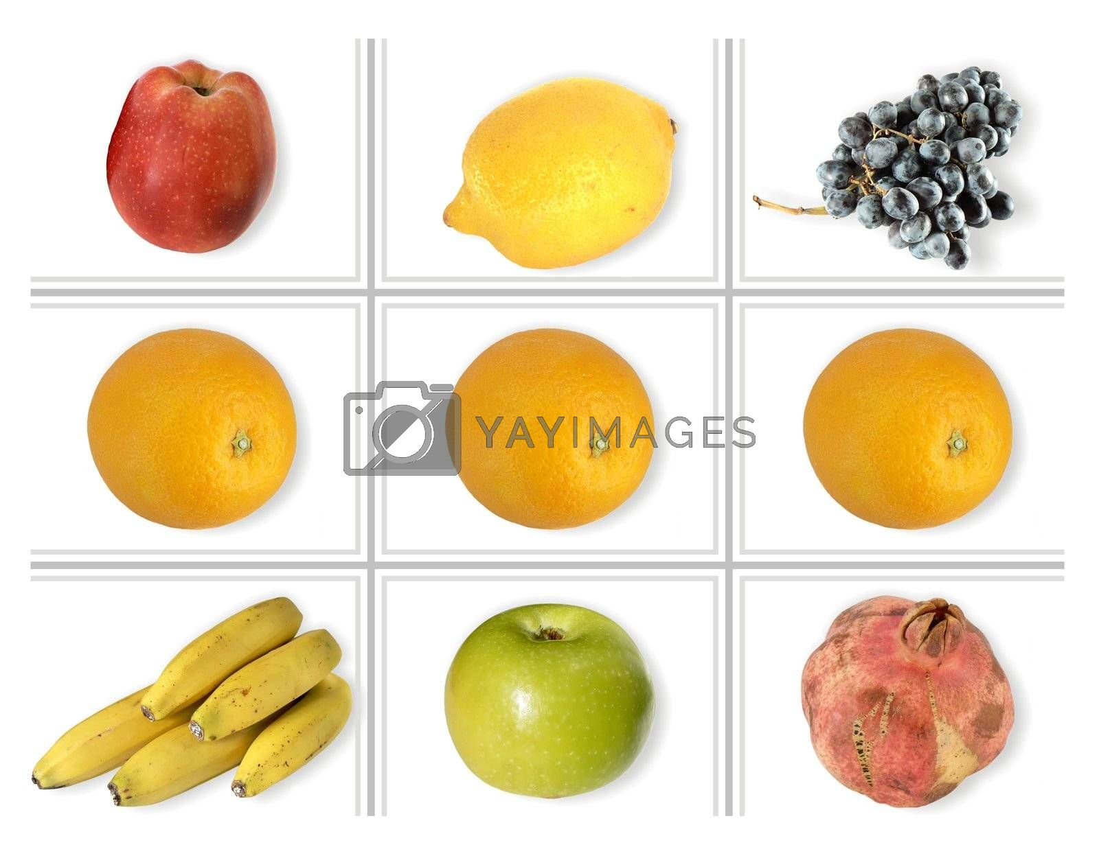 square of fruits isolated on white background
