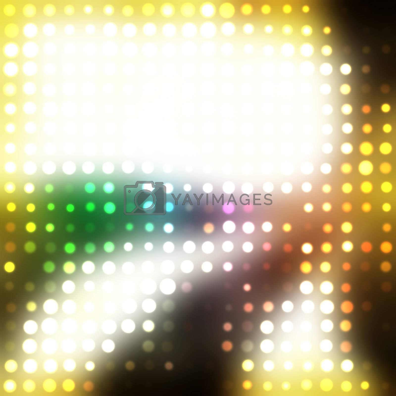 A rainbow colored halftone texture with glowing circles and plenty of copyspace.