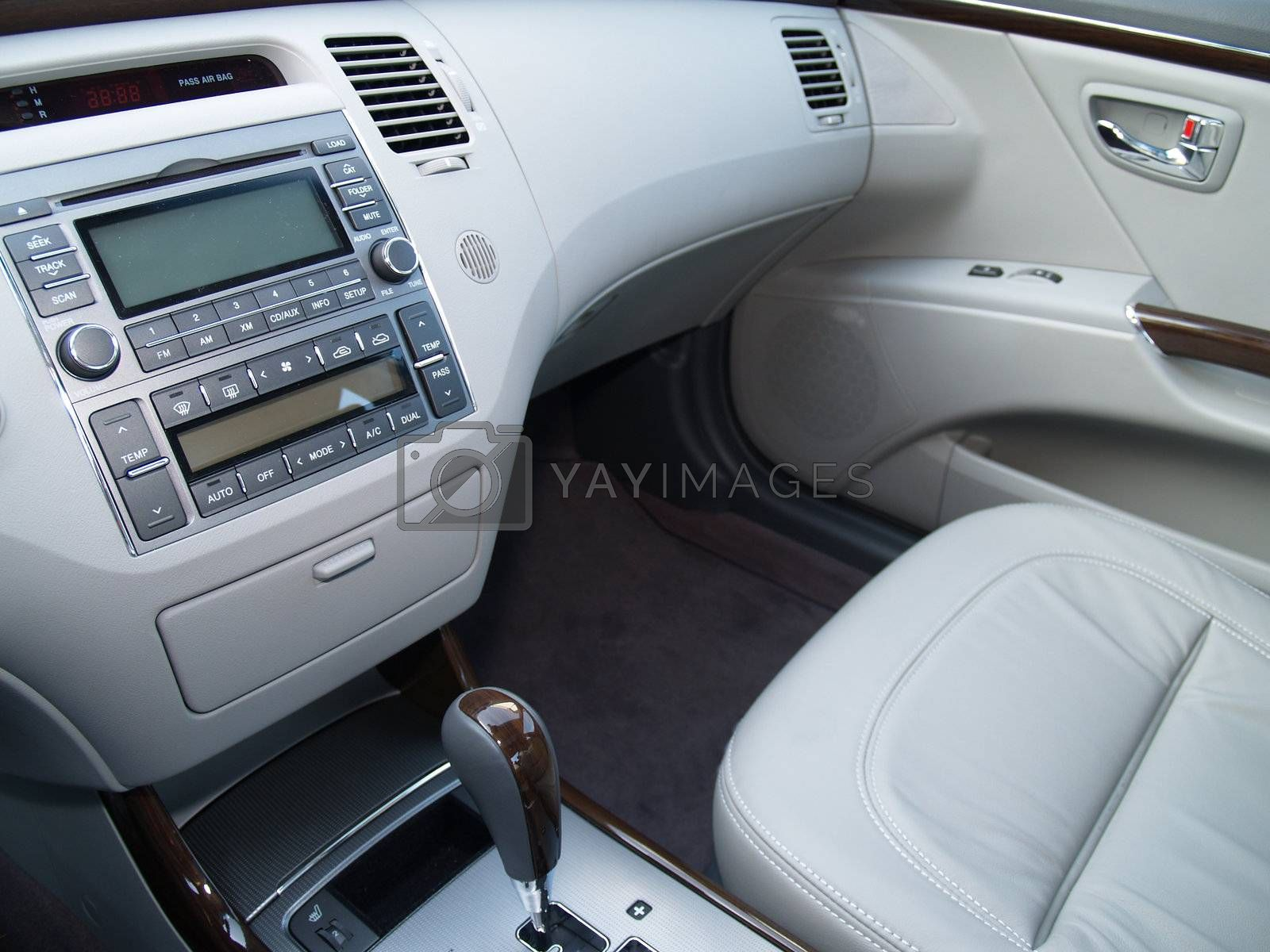 front interior for a new car with leather seats