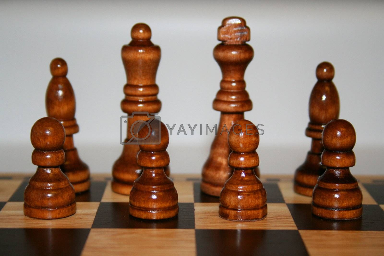 Wooden chess pieces lined up on a chess board.